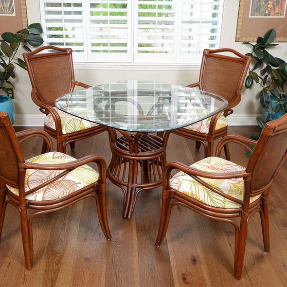 Serengeti Dining Arm Chairs in Sienna finish and Tatum Foliage fabric