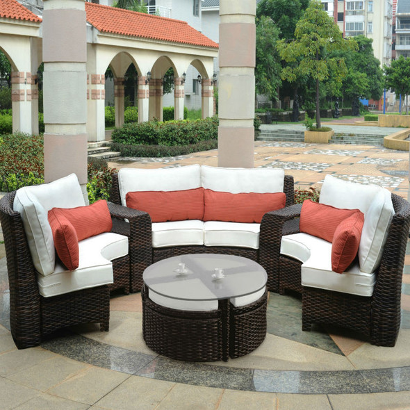 Saint Tropez Outdoor Sectional Curved Set in Tobacco finish