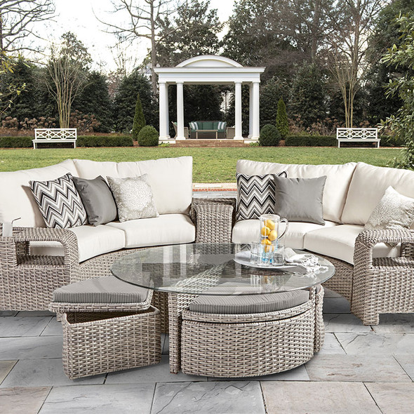 Saint Tropez Outdoor Sectional Curved Set in Stone finish