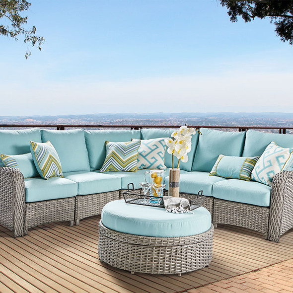 Saint Tropez Outdoor 6 piece Sectional Set in Stone finish