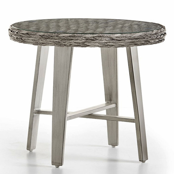 Grand Isle Outdoor End Table with Glass Top in Soft Granite finish