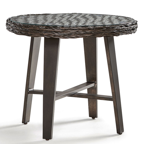 Grand Isle Outdoor End Table with Glass Top in Dark Caramel finish