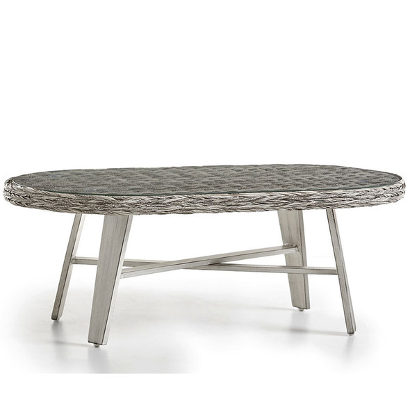 Grand Isle Outdoor Coffee Table with Glass Top in Soft Granite finish
