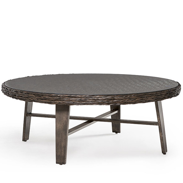 Grand Isle Outdoor Round Coffee Table with Glass Top in Dark Caramel finish