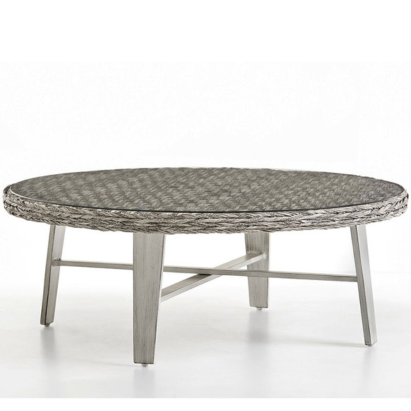 Grand Isle Outdoor Round Coffee Table with Glass Top in Soft Granite finish