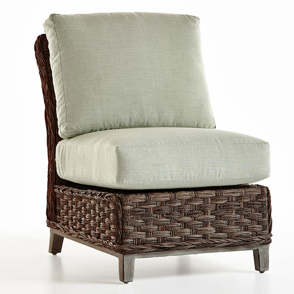 Grand Isle Outdoor Sectional Armless Chair in Dark Caramel finish