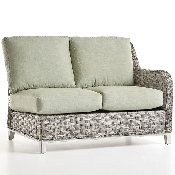 Grand Isle Outdoor One Arm Loveseat Right-Side Facing in Soft Granite finish