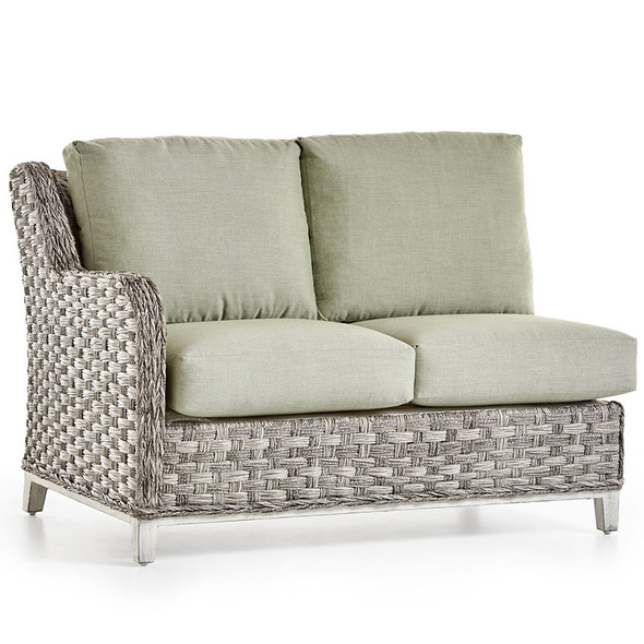 Grand Isle Outdoor One Arm Loveseat Left-Side Facing in Soft Granite finish