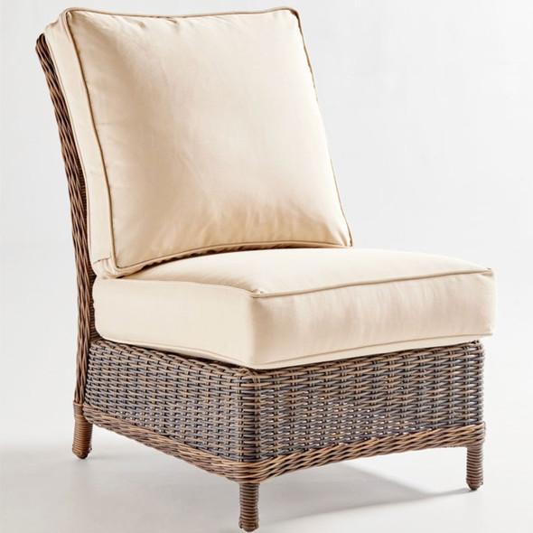 Barrington Outdoor Sectional Armless Chair in Chestnut finish