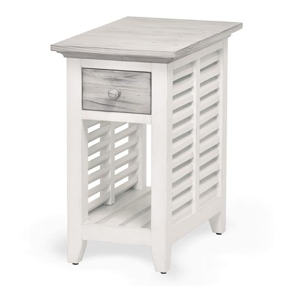 Islamorada Chairside Table in Dapple Grey / Blanc finish