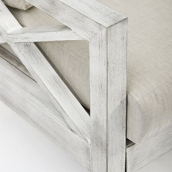 Close up of Farlowe Outdoor Loveseat in brushed white finish