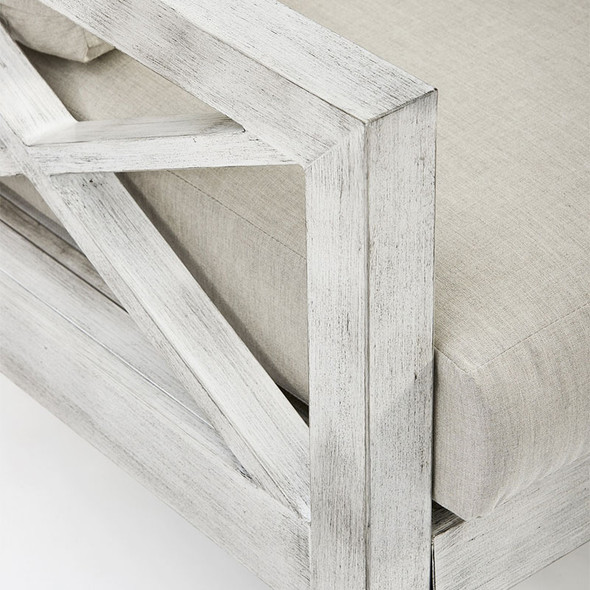 Close up of Farlowe Outdoor Sofa in brushed white finish