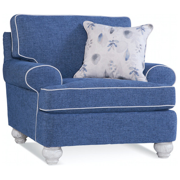 Artisan Landing Chair in fabric '0363-61 C' with contrast welt '0851-93 A' and pillow fabric '0534-66 H' in Hatteras finish