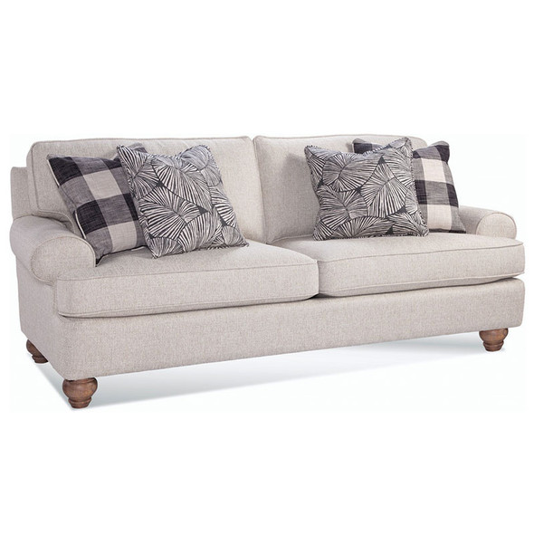 Artisan Landing 2 over 2 Sofa in fabric '0863-93 B'  with pillow fabrics '0120-81 H' and '0526-86 D' and Sun Weathered finish