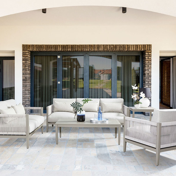 Nicole Outdoor Seating Collection in Graystone finish