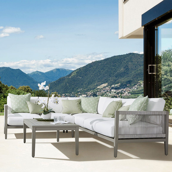 Nicole Outdoor Sectional Set in Graystone finish