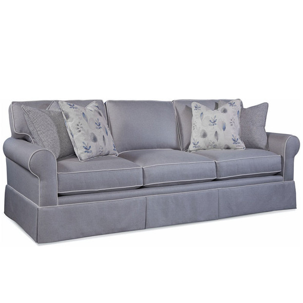 Benton Skirted Estate Sofa in fabric '0405-83 C' with contrast welt '0405-91 C'  and pillow fabrics '0534-66 H' and '0134-84 D'