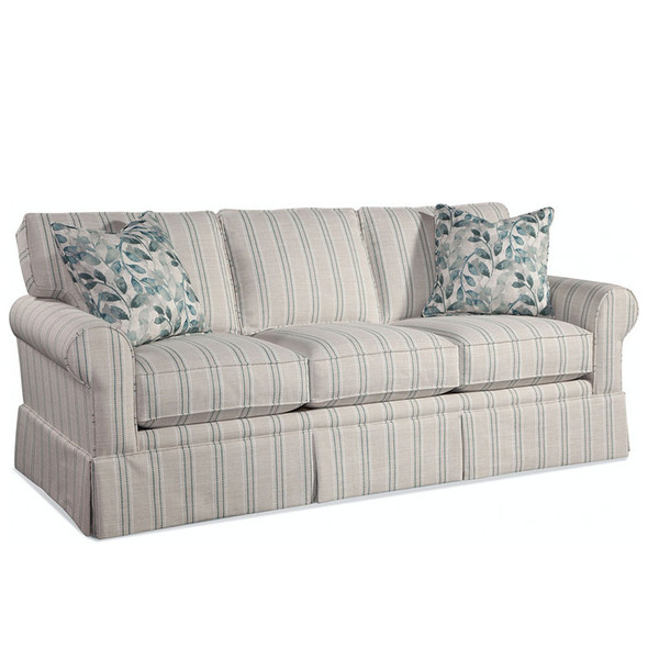 Benton Skirted 3 over 3 Sofa in fabric '0246-53 F' and pillow fabric '0524-84 H'