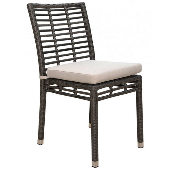 Graphite Outdoor Stackable Side chair with an off-white outdoor polyester cushion