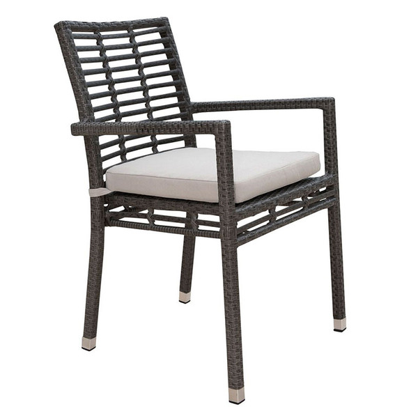 Graphite Outdoor Stackable Armchair with an off-white outdoor polyester cushion