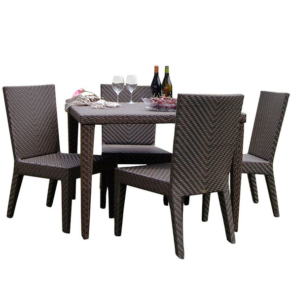 Soho Outdoor 5 piece Square Dining Set with side chairs