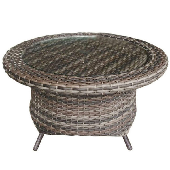 Edgewater Outdoor Rotating Chat Table with a glass