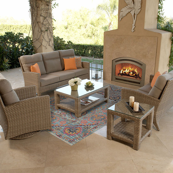 Grand Stafford Outdoor Seating Collection in Cast Ash fabric