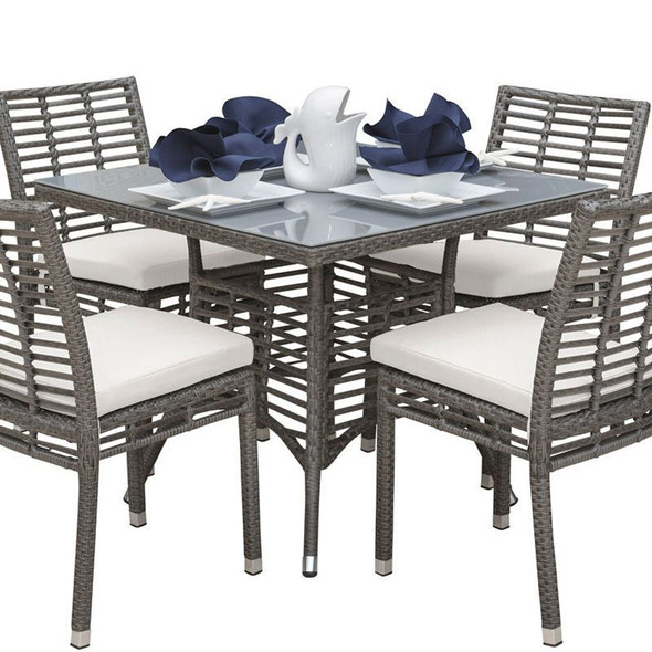 """Graphite Outdoor 36"""" Square Dining Table with Glass"""