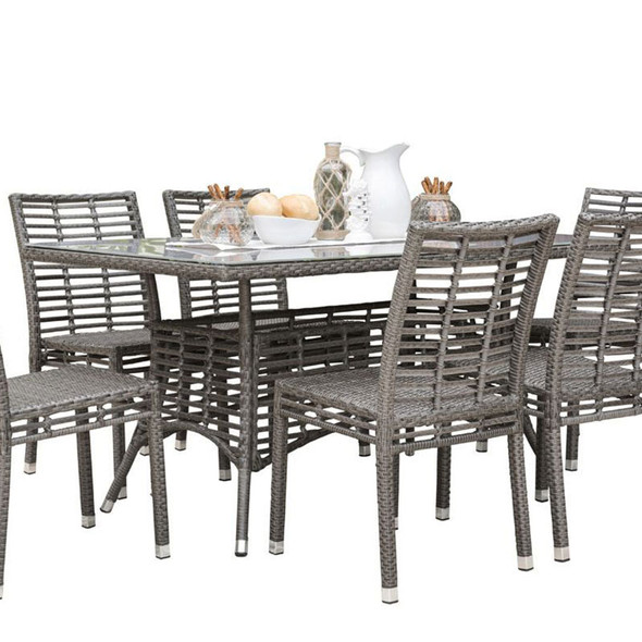 """Graphite Outdoor 36"""" x 60"""" Rectangular Dining Table  with Glass"""