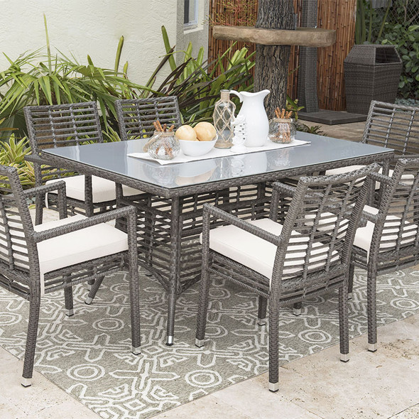 Graphite Outdoor 7 piece Dining Set with Stackable Arm Chairs