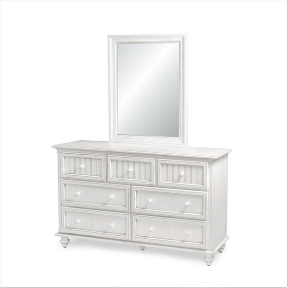 Monaco 7 Drawer Dresser and mirror set in the distressed Blanc finish