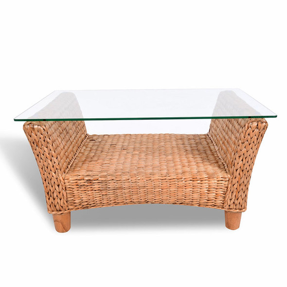Key Largo Rectangular Cocktail Table with Glass in Antique Honey finish