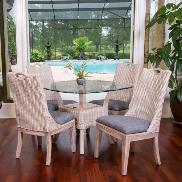 Belize 5 piece Dining Set with Side Chairs in Rustic Driftwood finish