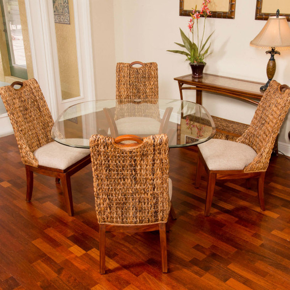 Belize 5 piece Dining Set with Side Chairs in Sienna finish