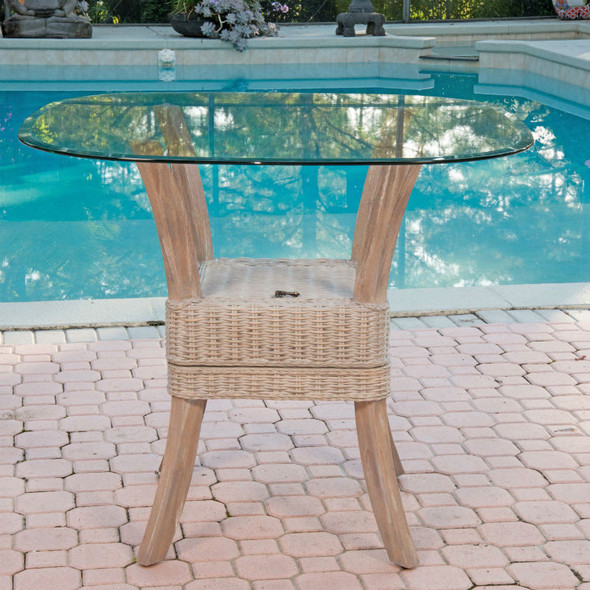 Belize Counter Table With Glass Top in Rustic Driftwood finish
