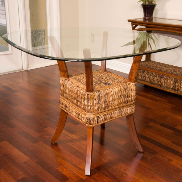 Belize Dining Table With Glass Top in Sienna finish