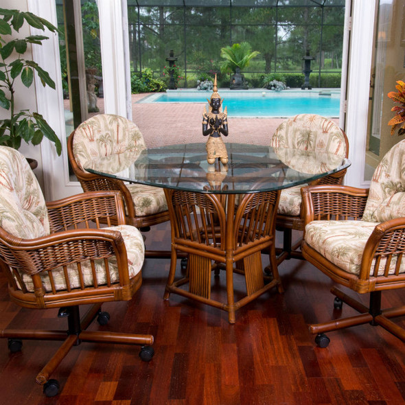 Bridgeport 5 peace Dining Set with Caster Arm Chairs in Sienna finish