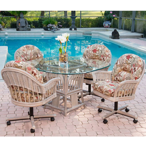 Bridgeport 5 peace Dining Set with Caster Arm Chairs in Antique Honey finish