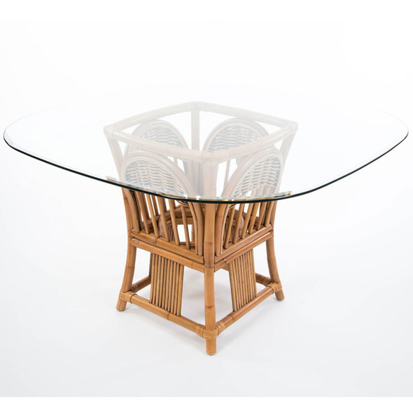 Bridgeport Square Round Table Base With Glass Top in Antique Honey finish