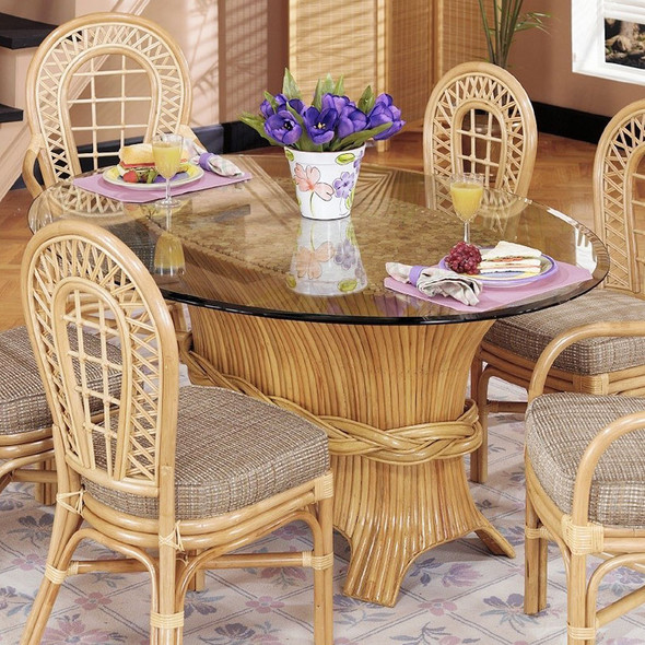 Caliente Oval Dining Table With Bevel Glass Top