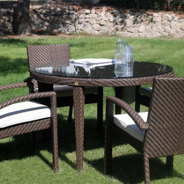 Atlantis Outdoor 5 piece Round Dining Set with 4 arm chairs