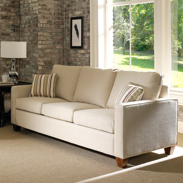 The Bridge Street Queen Sleeper Sofa comes in your choice of feet, fabric, and finish color.