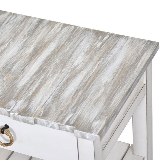 Close-up of Picket Fence Console Table in Distressed Grey/Blanc finish