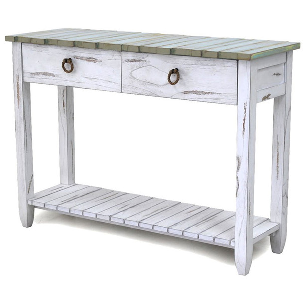 Picket Fence Console Table in Distressed Bleu/White finish