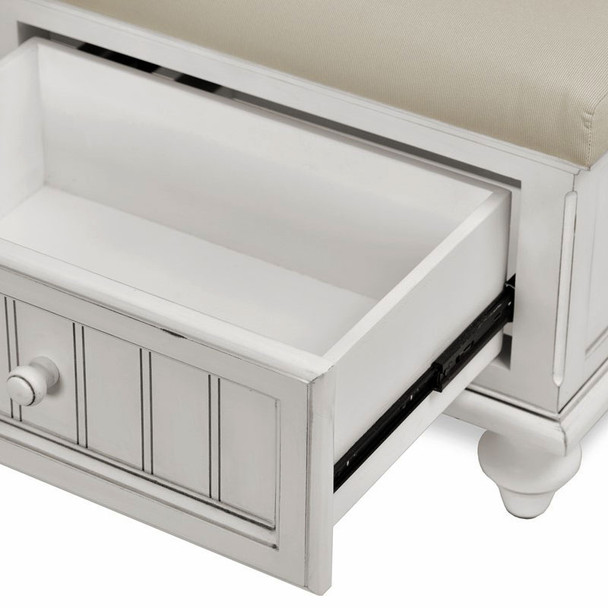 Drawers are constructed of solid wood and use full-extension ball-bearing drawer glides