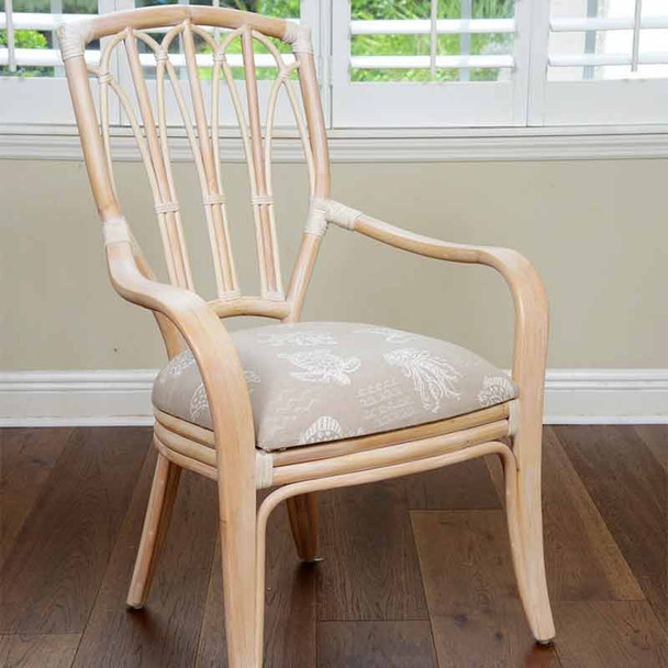 Cuba Dining Arm Chair in Washed Linen Finish and Seaworld Sand Fabric