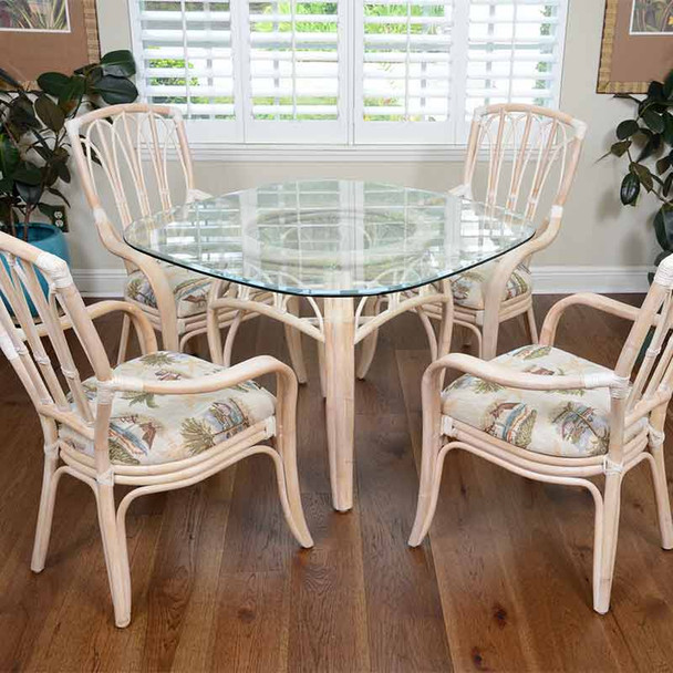 Cuba Dining Set in Washed Linen Finish and Escapade Sand Fabric