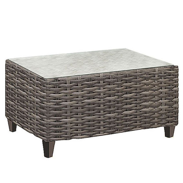Edgewater Outdoor Coffee Table with a glass top