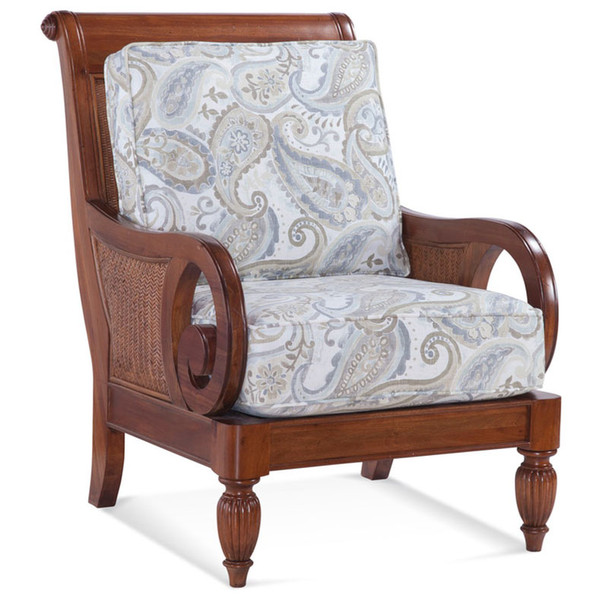 Grand View Lounge Chair in '0223-93 C' fabric and Havana finish