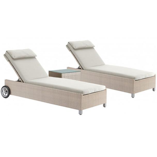 Cubix Outdoor 3 piece Chaise Lounge Set